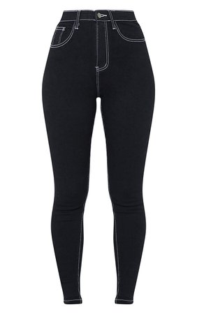 PRETTYLITTLETHING Black Contrast Stitch Disco Skinny Jeans | PrettyLittleThing USA