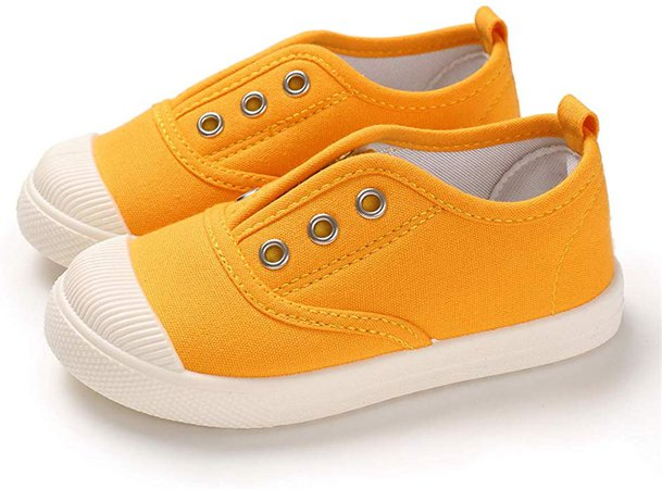 Amazon.com | E-FAK Kids Canvas Sneaker Toddler Boys Girls Slip On Tennis Shoes Lightweight Fashion Casual Running Shoe (6 Toddler, A/Yellow) | Sneakers