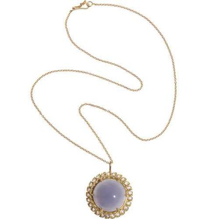 Blue Chalcedony & White Topaz Aladdin Pendant Necklace
