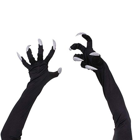 Gloves Halloween White Nails Mini Funny Props False Nail Sets Witch Scary Cat For Women Men Fancy Costume Party Cosplay Long Animal Paw Claw Hand Devil Woman Glitter Fingernails Carnival Performa: Amazon.co.uk: Toys & Games