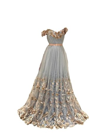 long blue dress w/ gold detailing