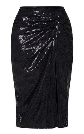 Shape Black Sequin Twist Detail Split Midi Skirt | PrettyLittleThing