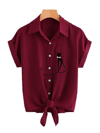 lili's story Womens Summer Casual Chiffon V Neck Button up Sleeve Blouse Shirt Tops(Wine Red, Medium) at Amazon Women's Clothing store: