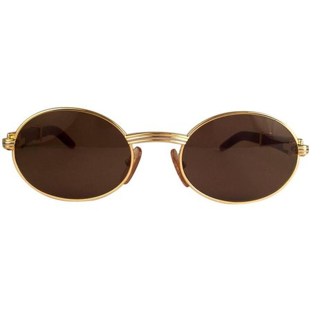New Cartier Giverny Gold and Wood 53/22 Full Set Brown Lens France Sunglasses at 1stdibs
