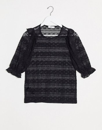 Mango lace insert blouse in black | ASOS
