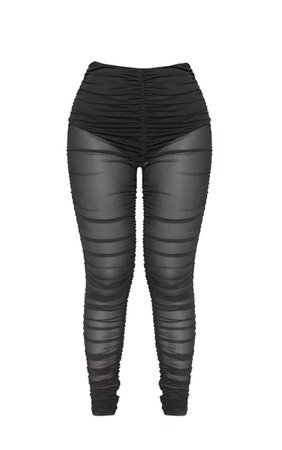 Black Ruched Mesh Legging | PrettyLittleThing