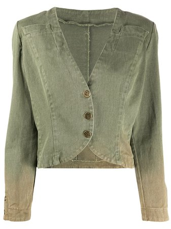 Fendi Pre-Owned 1980S Cropped Jacket FND250Q Green | Farfetch