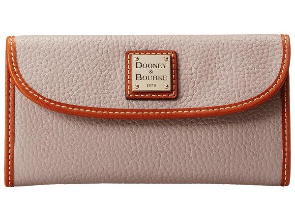 Dooney & Bourke - Pebble Leather New SLGS Continental Clutch (Oyster w/ Tan Trim) Clutch Handbags