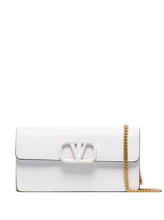 Shop white Valentino Garavani VLogo foldover clutch with Express Delivery - Farfetch