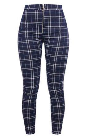 Blue Check Ring Zip Leggingss | Trousers | PrettyLittleThing