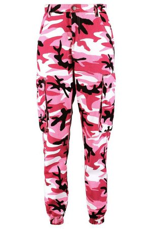 Mid Rise Pink Camo Twill Cargo Jeans | Boohoo