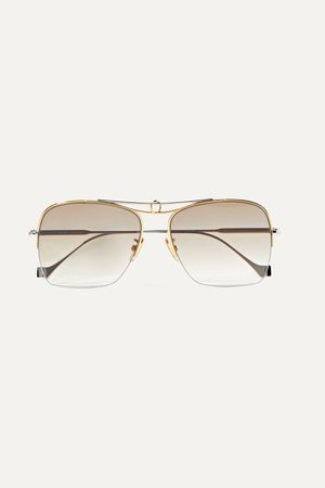 Gold Aviator-style silver and gold-tone sunglasses | Loewe | NET-A-PORTER