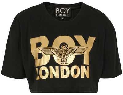 Boy London Gold Print Crop Top