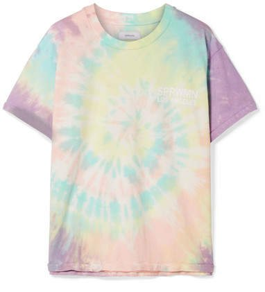 Oversized Printed Tie-dyed Cotton-jersey T-shirt - Yellow