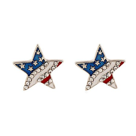 Amazon.com: Star Shaped American Flag Stud Earrings Crystal Accents: Jewelry
