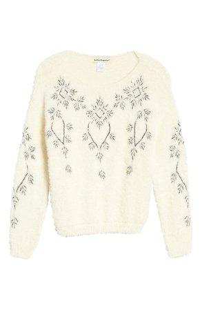 Cotton Emporium Beaded Snowflake Sparkle Sweater | Nordstrom