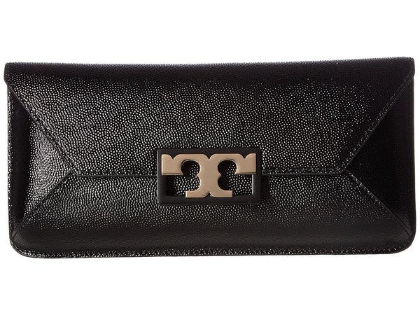 Tory Burch - Gigi Patent Clutch (Black) Clutch Handbags