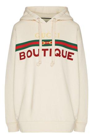 Бежевое худи с логотипом Gucci – купить в интернет-магазине в Москве