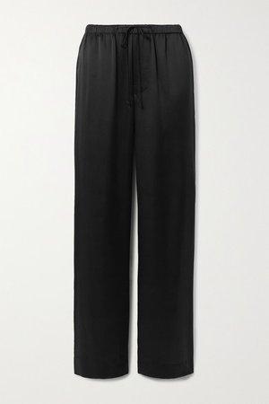 Silk-satin Wide-leg Pants - Black