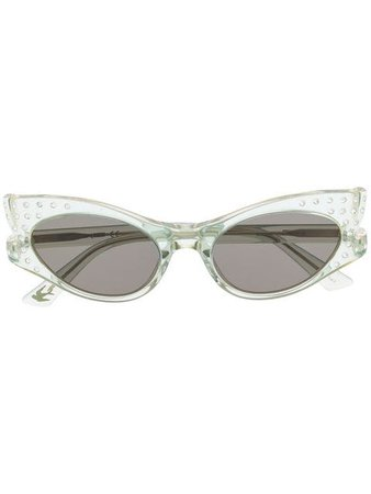 Alexander Mcqueen Eyewear Transparent Cat-Eye Sunglasses MQ0188S Green | Farfetch
