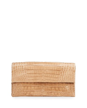Simple Flap Crocodile Clutch Bag