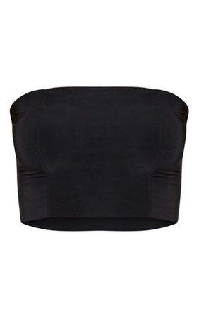 Helsa Black Slinky Bandeau Crop Top | PrettyLittleThing