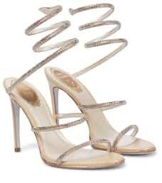 RENE CAOVILLA - Cleo embellished leather sandals | Mytheresa