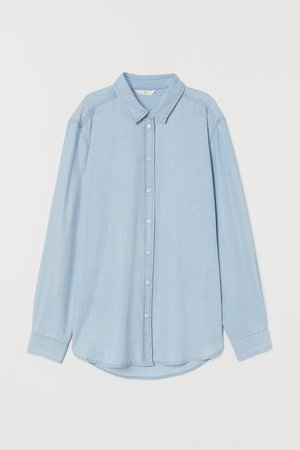 Lyocell Denim Shirt - Light denim blue - Ladies | H&M US