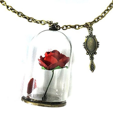 Amazon.com: Beauty Belle Rose Necklace - Beast Rose Glass Pendant Jewelry for Women: Clothing