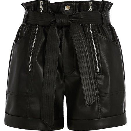 Black faux leather paperbag belted short | River Island
