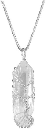Amazon.com: Top Plaza Natural Raw Stone Healing Crystal Necklace Silver Tree of Life Wire Wrapped Clear Quartz Point Pendant for Womens Ladies: Arts, Crafts & Sewing