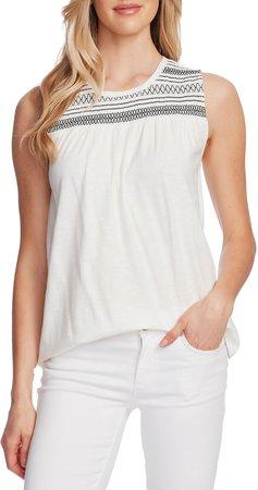 Embroidered Yoke Sleeveless Cotton Blend Top