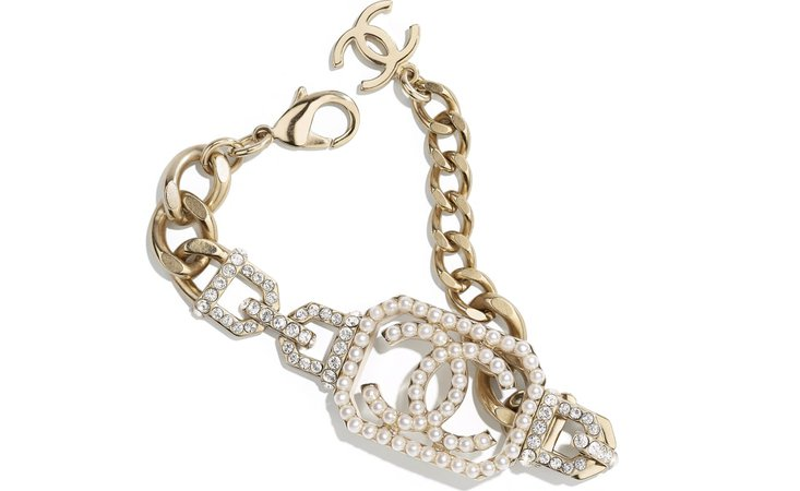 Bracelet, metal, imitation pearls & diamanté, gold, pearly white & crystal - CHANEL