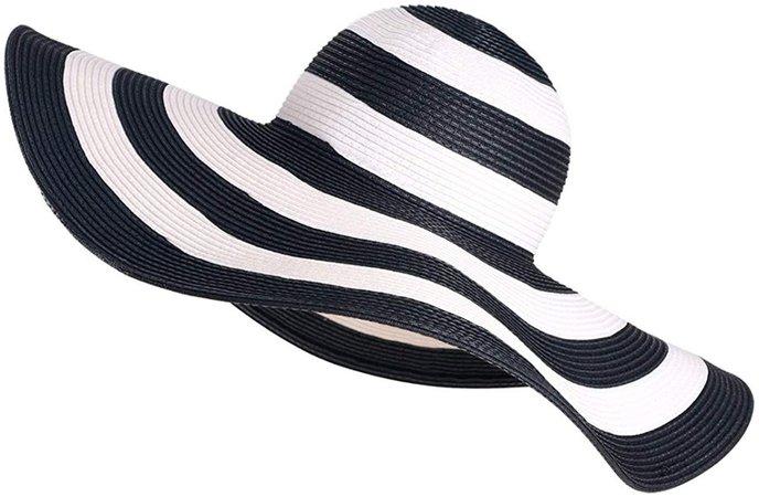 Floppy Wide Brim Straw Hat Women Summer Beach Cap Sun Hat (Beige) at Amazon Women's Clothing store