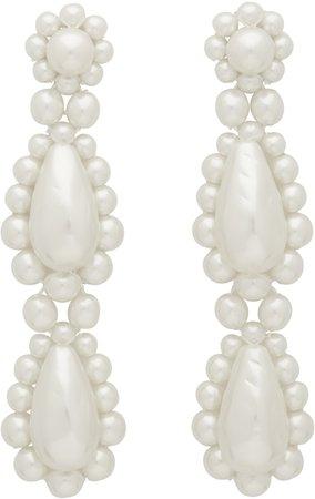 simone rocha, white pearl drop earrings