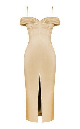 Cold-Shoulder Satin Midi Dress With Stitching By Rasario | Moda Operandi