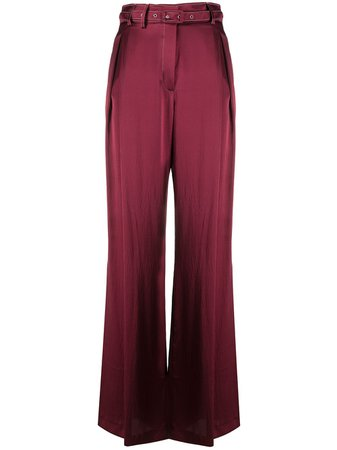 Wide Leg Silk Flared Trousers Pants