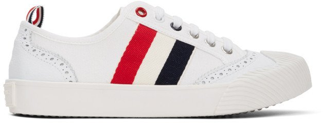 White Brogued Canvas Sneakers