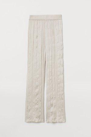 Wide-cut Satin Pants - Beige