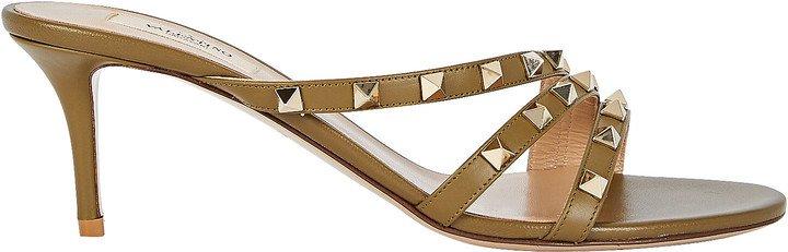 Rockstud Curved Leather Slide Sandals