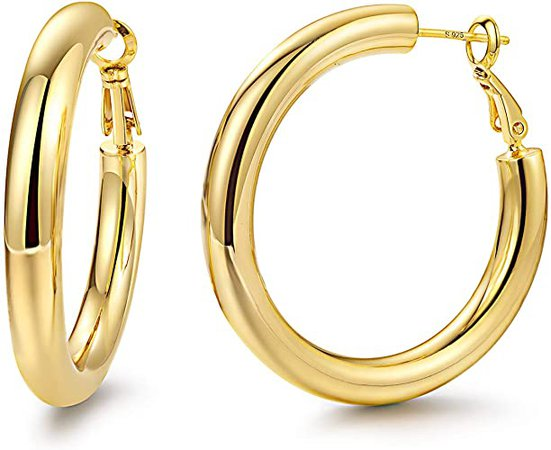 Amazon.com: Hoop Earrings 14K Gold Plated 925 Sterling Silver Post 5MM Thick Tube Very Lightweight Hoops for Women And Girls: Jewelry