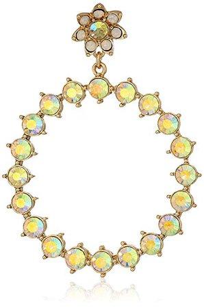 """Betsey Johnson """"Flower & Stone"""" Gypsy Hoop Earrings, Yellow, One Size: Jewelry"""