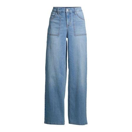 Scoop - Scoop Women's Utility Wide Leg Jeans - Walmart.com - Walmart.com blue