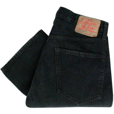 folded black jeans