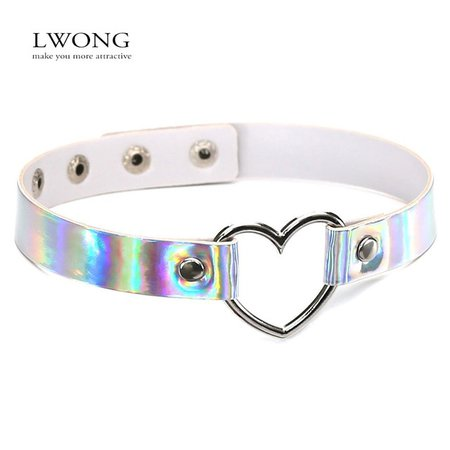 LWONG Gothic Opalescent Reflective Holographic Choker Necklace for Women PU Leather Chokers with Metal Heart Rainbow Chocker Hot-in Chain Necklaces from Jewelry & Accessories on Aliexpress.com | Alibaba Group