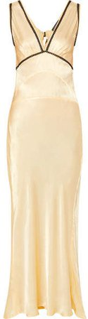 Lace-trimmed Satin-crepe Maxi Dress - Pastel yellow