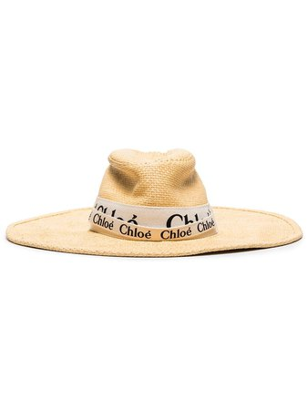 Shop Chloé logo-tape straw hat with Express Delivery - Farfetch