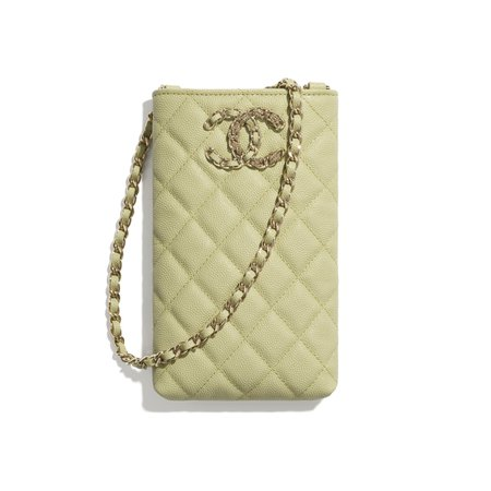 Chanel, phone holder with chain Grained Calfskin & Gold-Tone Metal Green