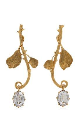 Thorn Crystal-Embellished Gold-Plated Earrings By Oscar De La Renta | Moda Operandi