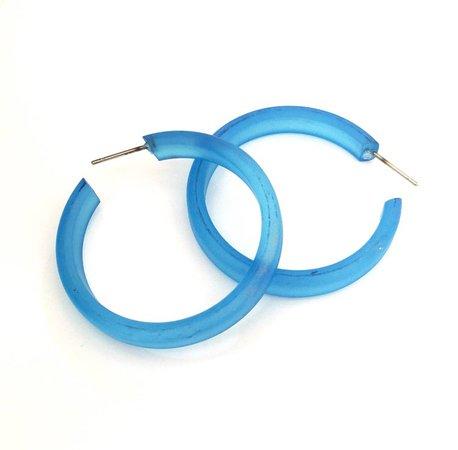 Aqua Blue Frosted Hoops aqua blue hoop earrings The Leetie | Etsy